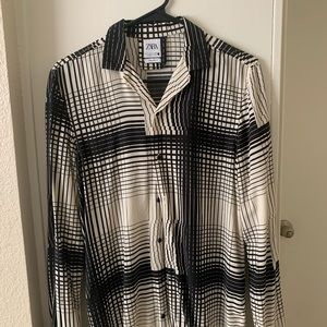 Zara Men's stripped black and white S shirt